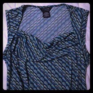 George Stretch Ladies Turquoise sleeveless Top
